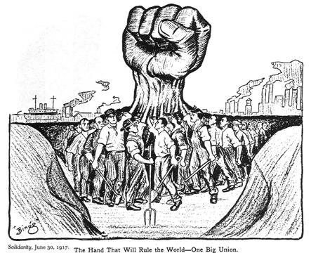 איור סולידריות מתוך מגזין איגוד פועלי התעשייה של העולם, 1917